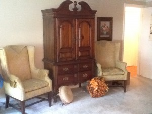 wingback chairs and armoire